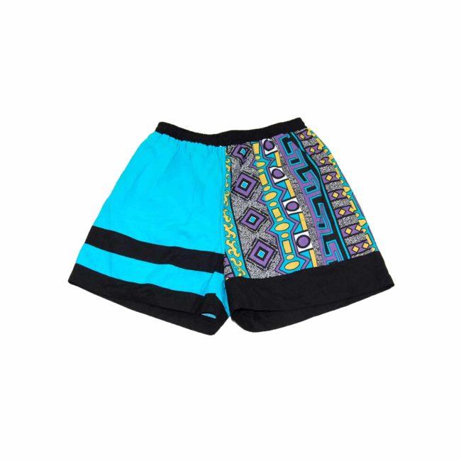 90s Teal Funky Print Beach Shorts