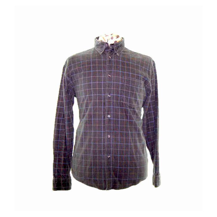 90s Dark Green Checked Corduroy Shirt