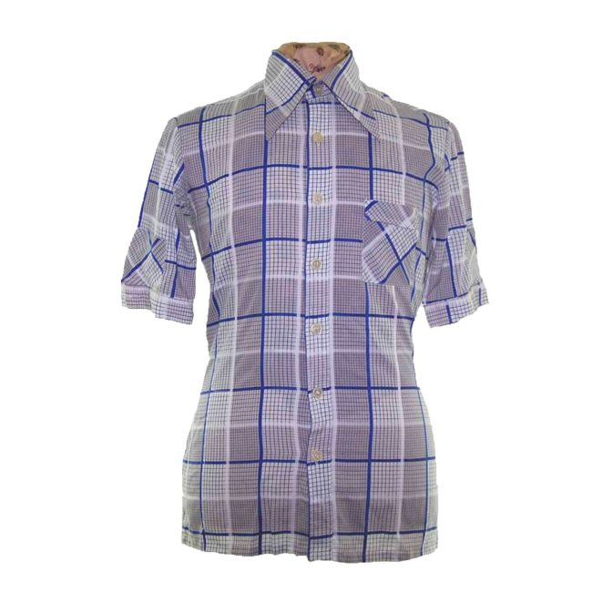 70s Graphic Checked Short Sleeve Shirt