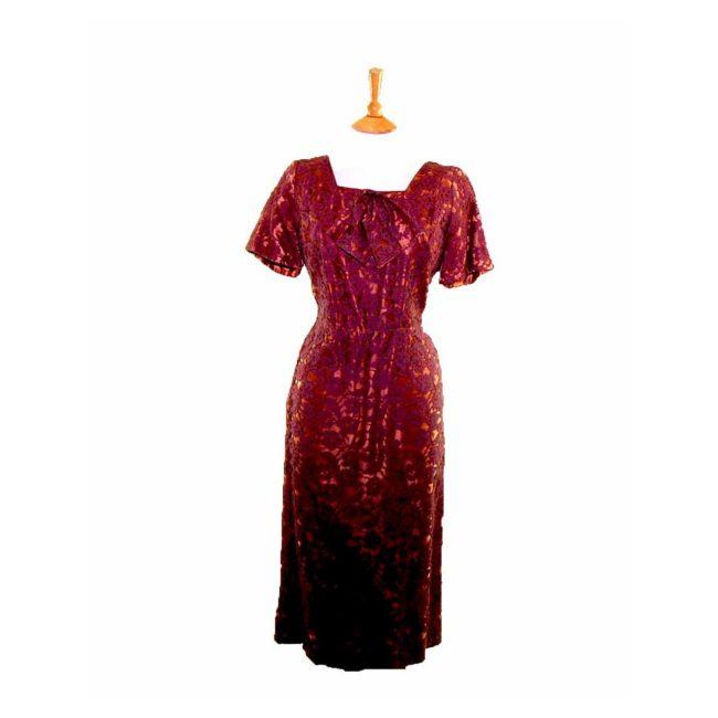 50s Copper Floral Lace Dress