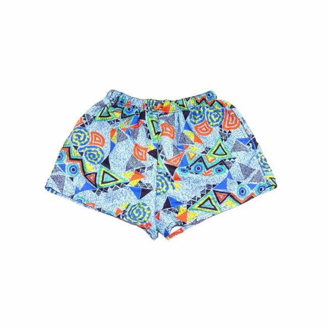 90s Blue Patterned Beach Shorts