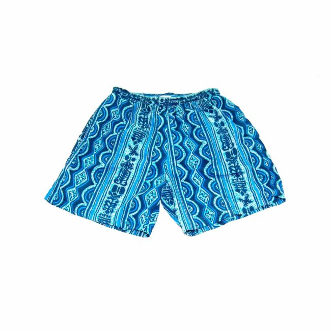 90s Blue Stripe Patterned Beach Shorts