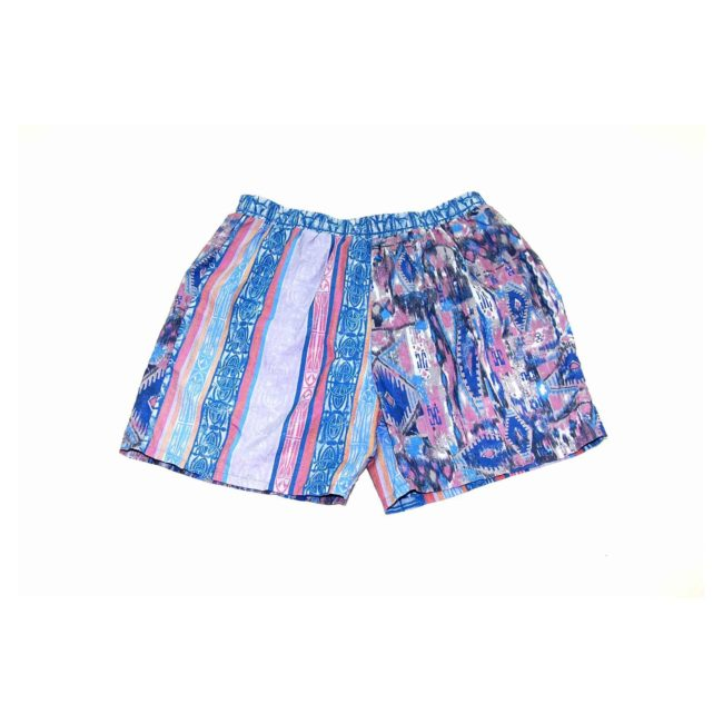 90s Blue Dual Patterned Beach Shorts