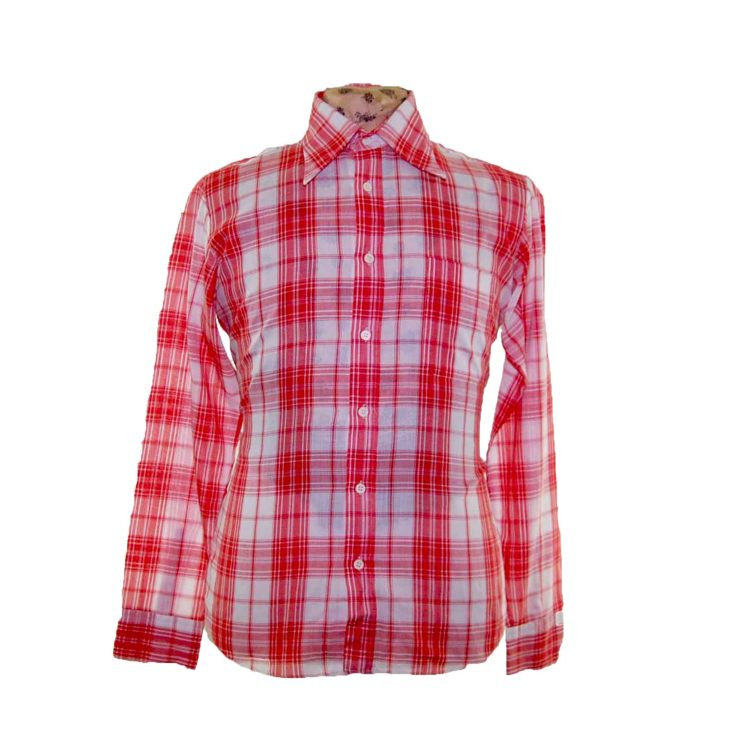 70s Red Checked Long Sleeve Shirt