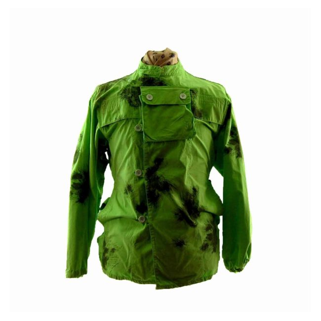 90s Military Tie Dye Bright Green Military Parka