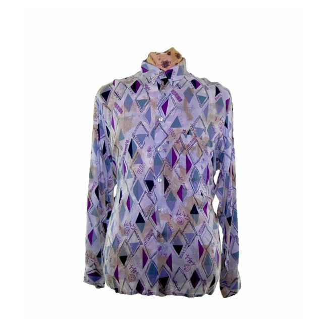 80s Purple Diamond Patterned Shirt