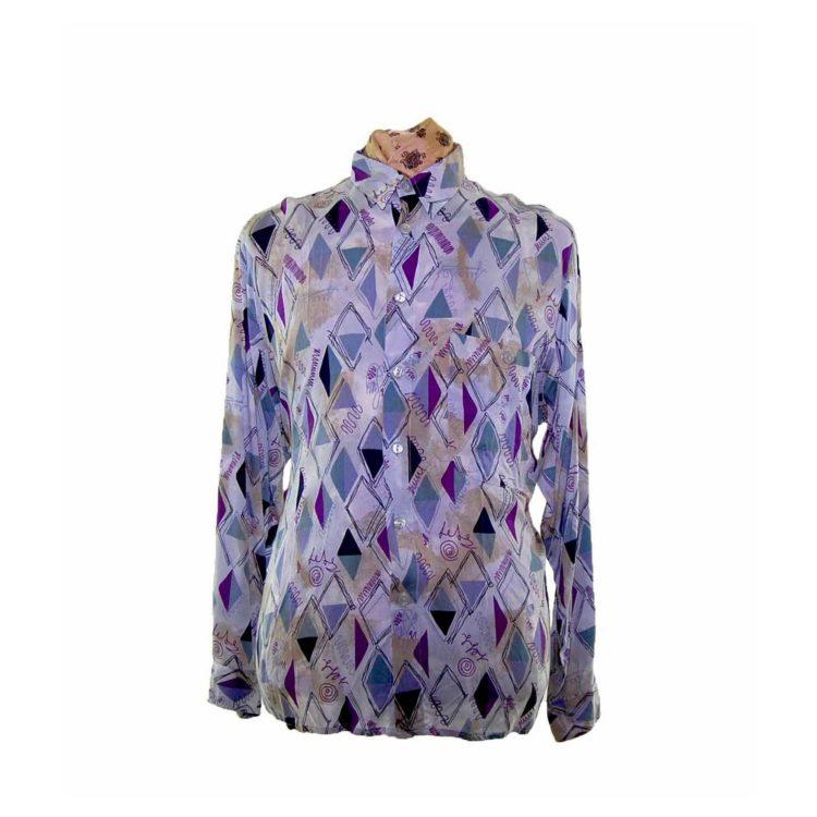 80s Purple Diamond Patterned Shirt