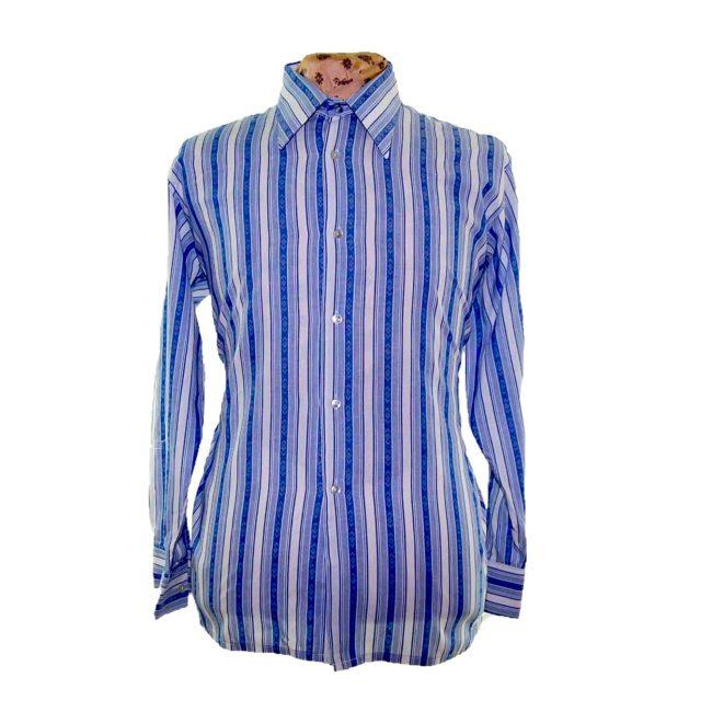 70s Light Blue Striped Long Sleeve Shirt