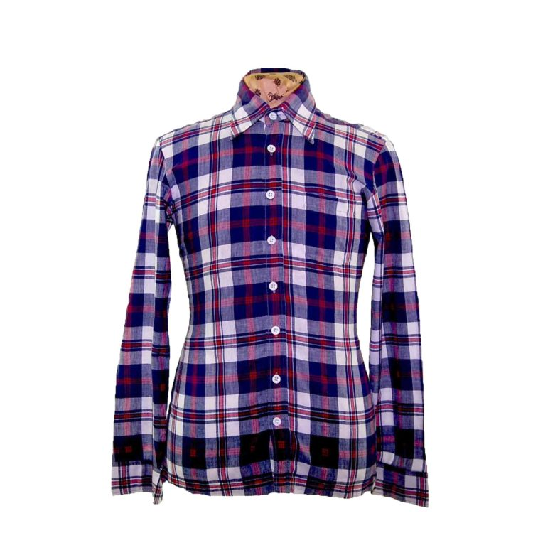 70s Navy Checked Long Sleeve Shirt