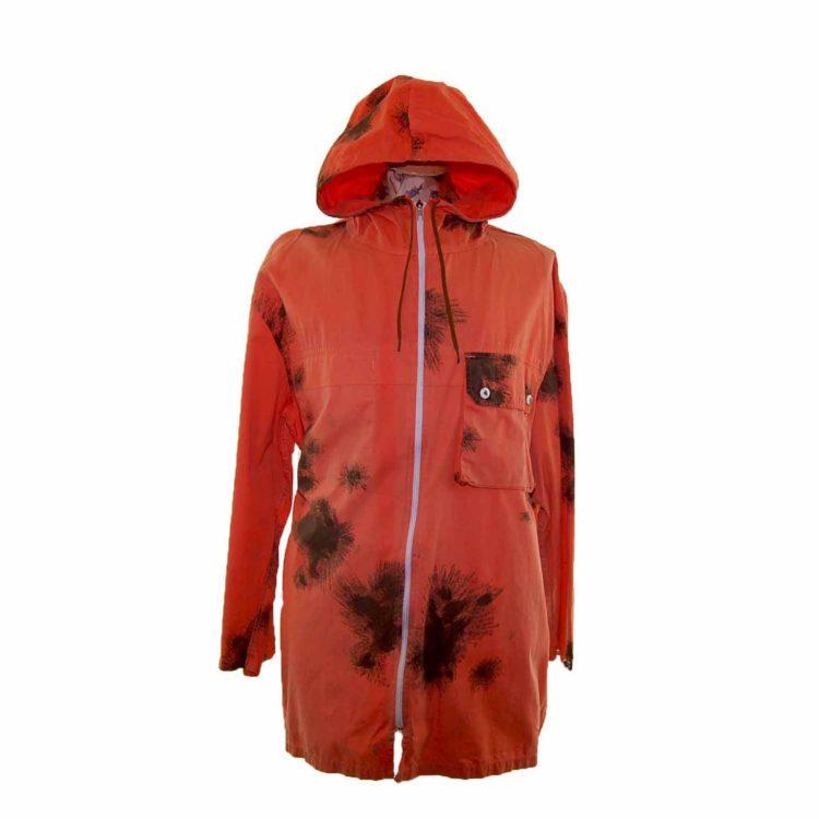 90s Tie Dye Orange Hooded Military Parka Jacket