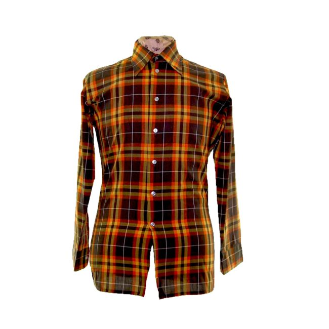 70s Autumnal Checked Long Sleeve Shirt