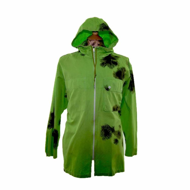 90s Tie Dye Lime Green Hooded Parka
