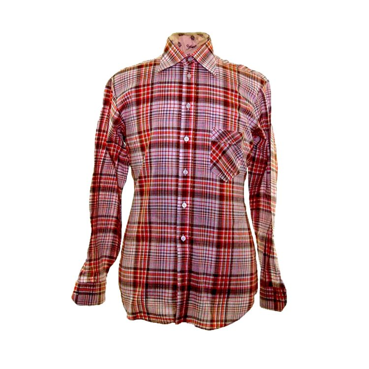 70s Orange Checked Long Sleeve Shirt