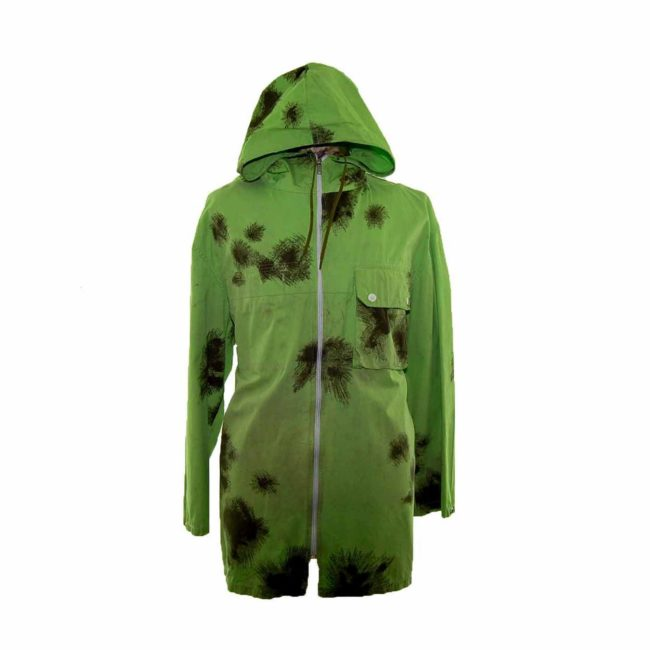 90s Tie Dye Bright Green Hooded Army Parka