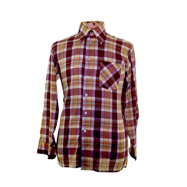 70s Muted Purple Checked Long Sleeve Shirt