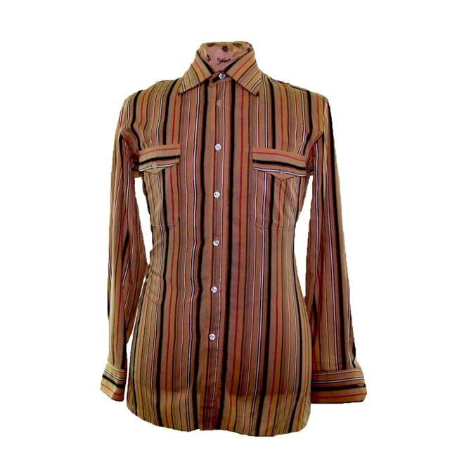 70s Brown Striped Long Sleeve Shirt