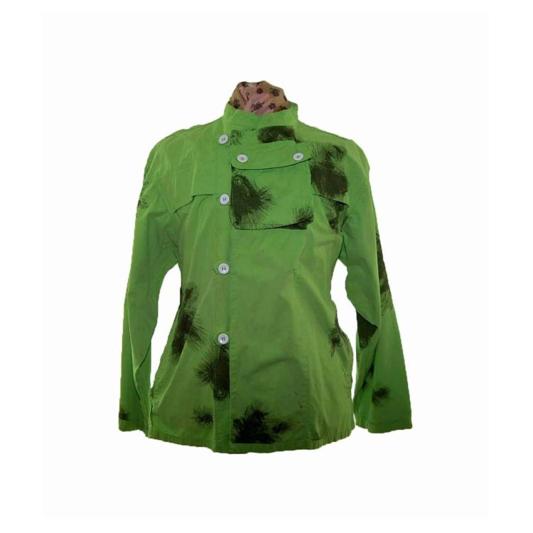 90s Military Tie Dye Lime Green Jacket