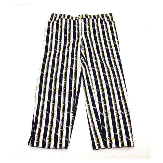 90s Striped Gold Chain Print Straight Jeans