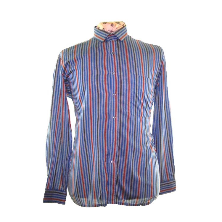 70s Dark Blue Striped Long Sleeve Shirt