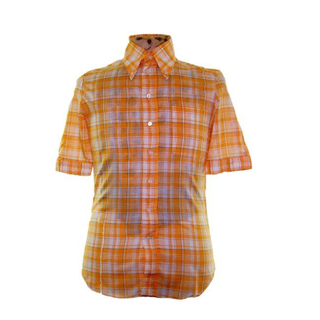 70s Yellow Checked Short Sleeve Shirt