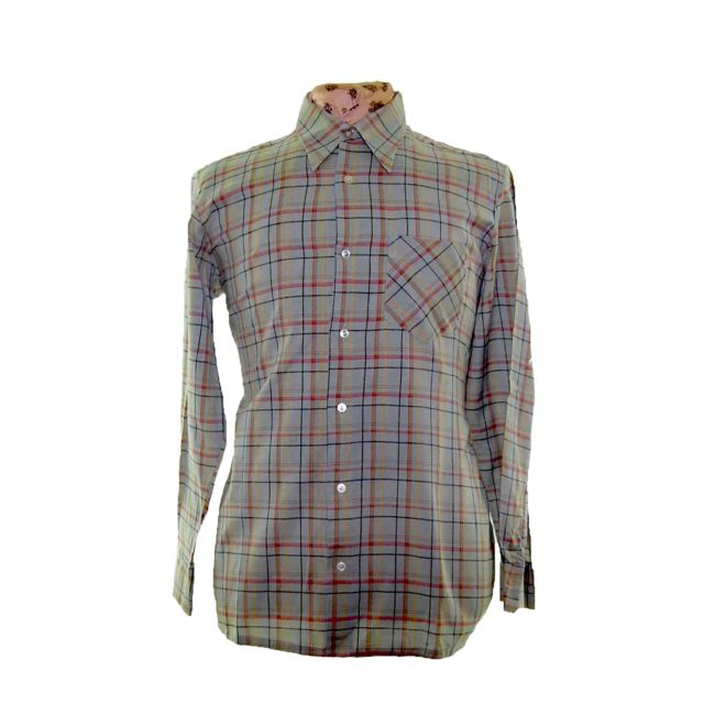 70s Faded Green Checked Long Sleeve Shirt