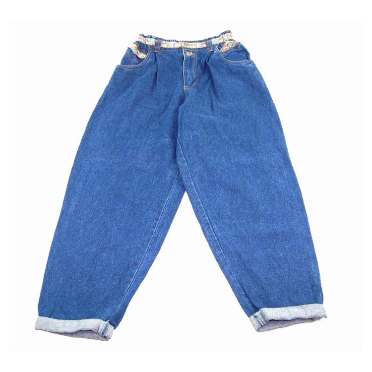 90s Colorful Fabric Detailed Mom Jeans