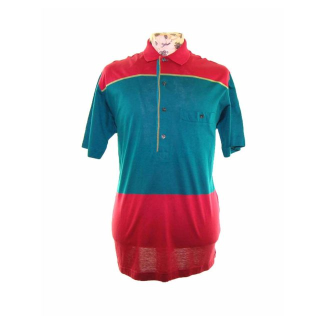 90s Red Green Block Stripe Polo