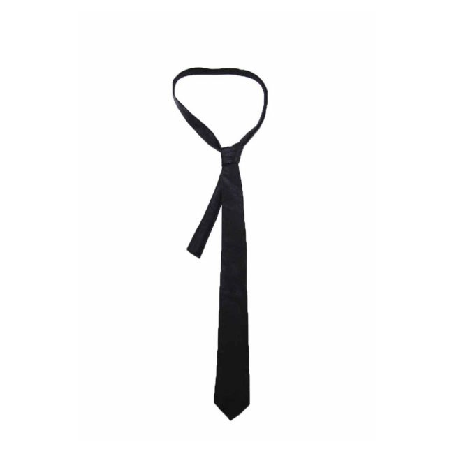 60s Slim Jet Black Real Leather Tie