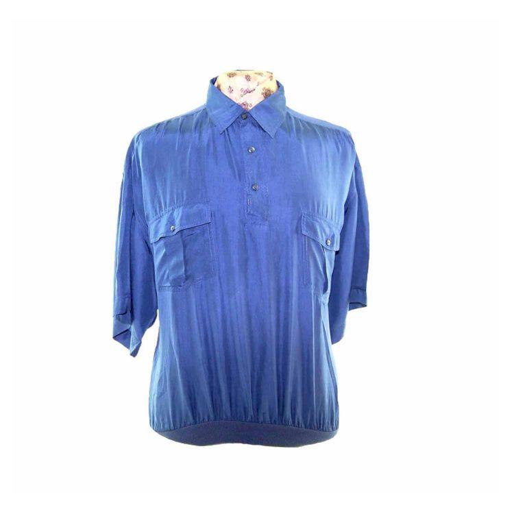 90s Dark Blue Silk Short Sleeve Polo Shirt