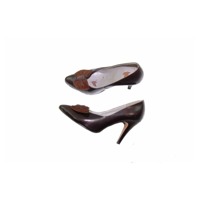 80s Brown Leather Heeled Pumps