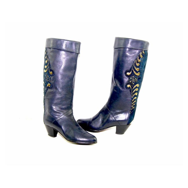 80s Navy Gold Leather Boots