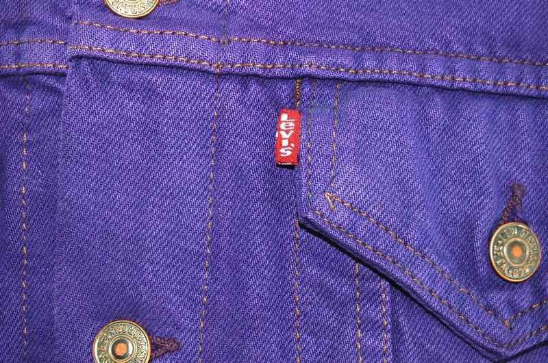 Purple and Blue Handwoven back Vintage Levi/'s Jacket