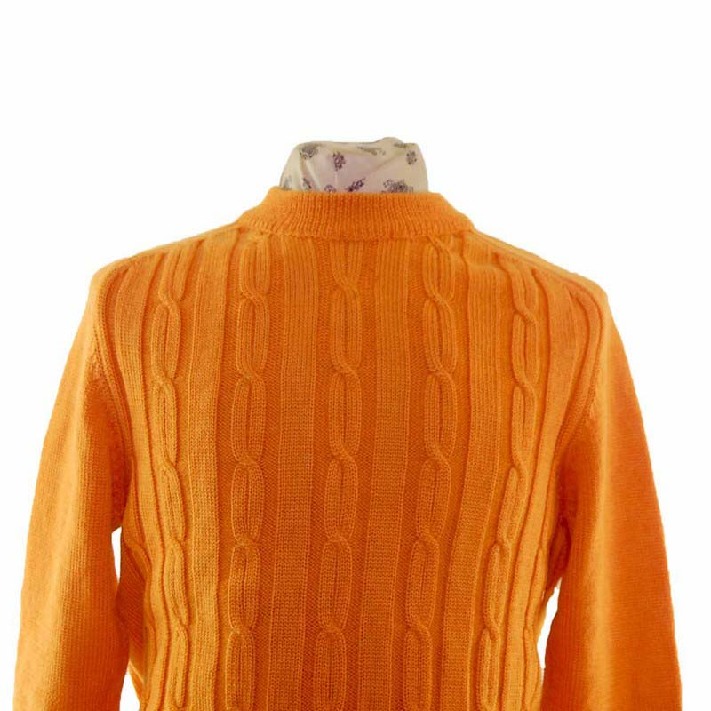 80s Mens Orange Wool Cable Knit Sweater Blue 17 Vintage Clothing