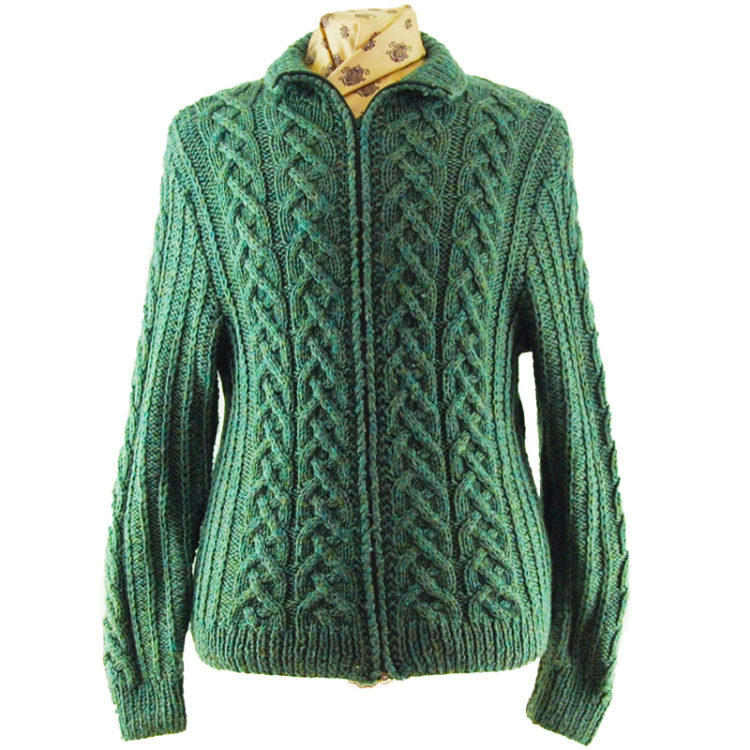Green Vintage Zip Up Cardigan