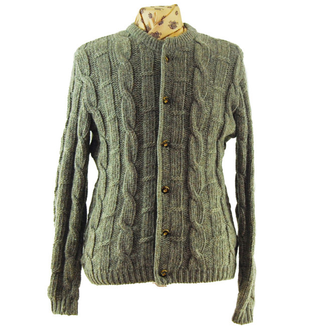 Grey Vintage Cable Knit Cardigan