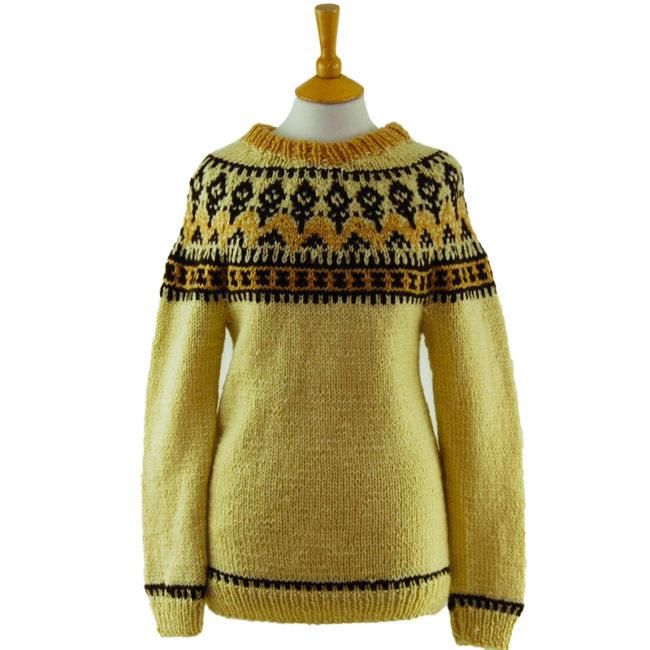 Icelandic Patterned Wool Sweater