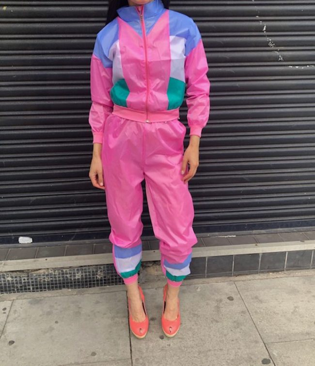 Ladies 80s Pink Shell Suit