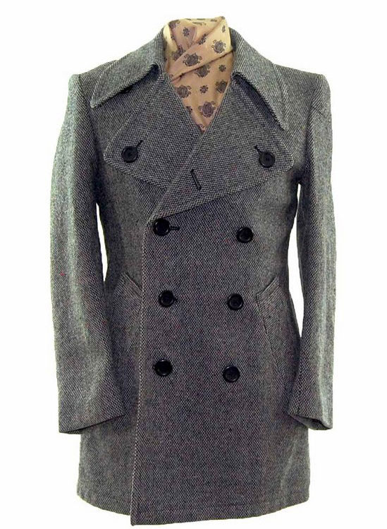 Mens Grey Double Breasted Pea Coat