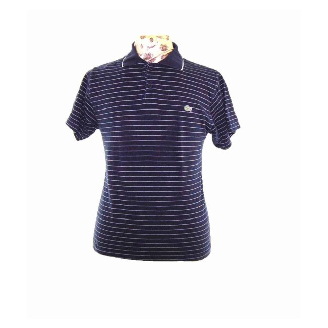 Navy Blue Polo Shirt With White Stripes