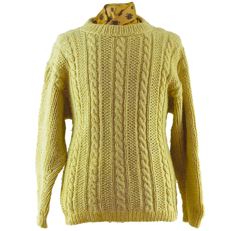 Plain Cream Cable Knit Sweater