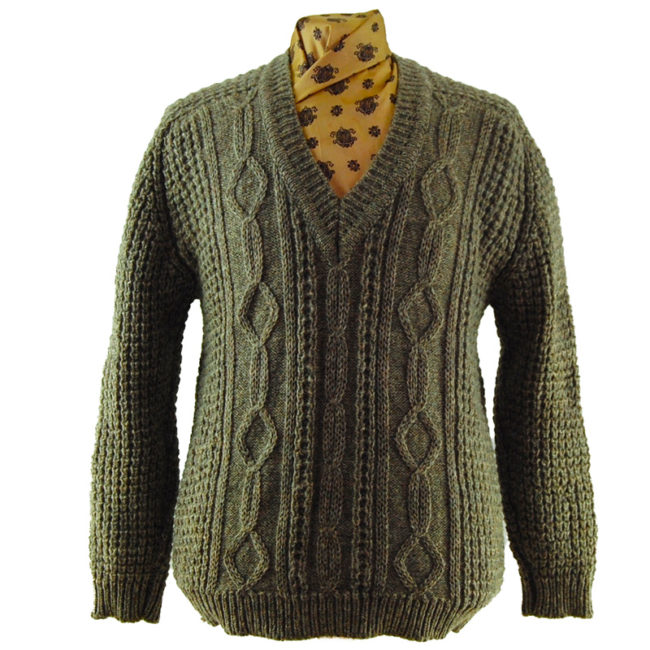 V-Neckline Cable Knit Sweater