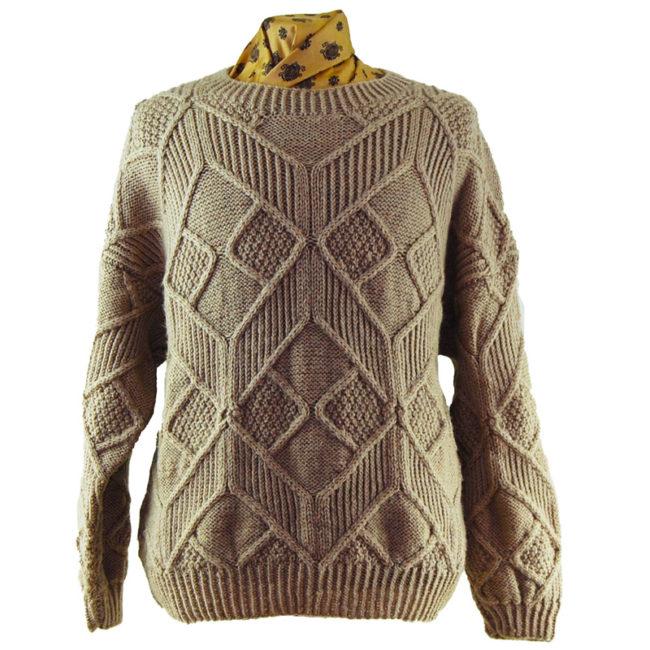 Vintage Beige Large Knit Sweater