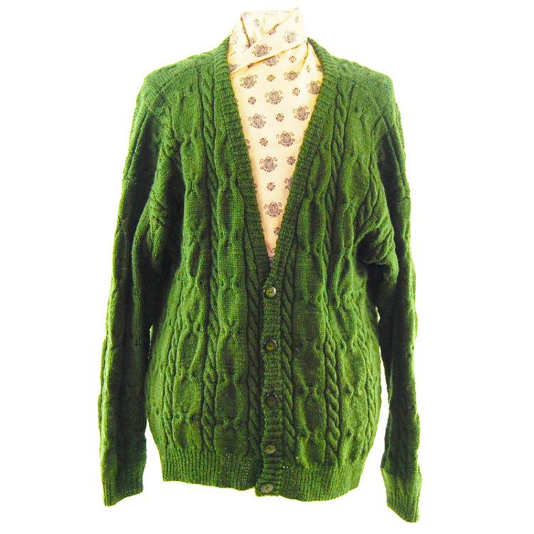 Vintage V-Neckline Green Cardigan