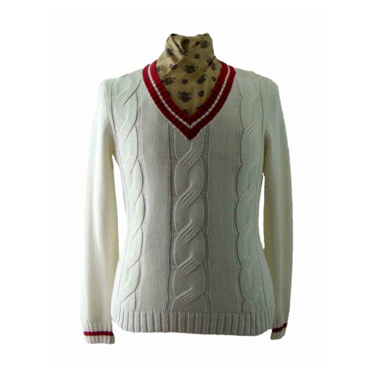 White And Red V Neck Cable Knit Sweater