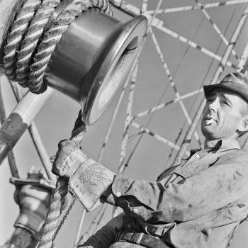 Work jacket - Worker on oil derrick, 1938