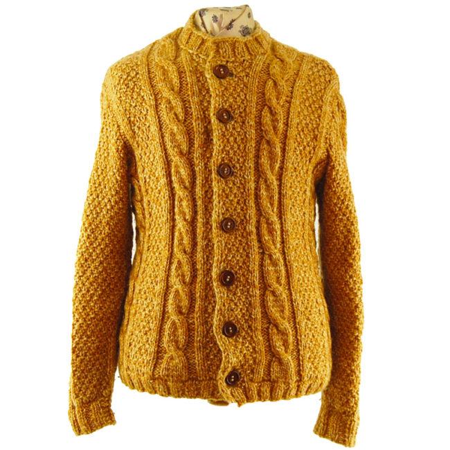 Yellow Vintage Cableknit Cardigan