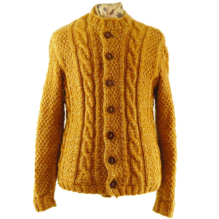 Yellow Vintage Cableknit Cardigan
