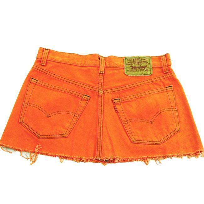 back of 90s Levis Vibrant Orange Mini Skirt