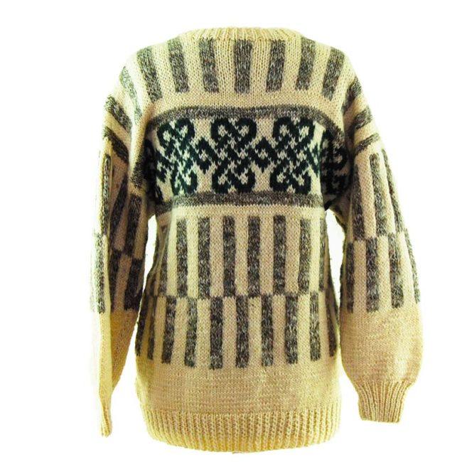 back of Cream And Grey Icelandic Wool Sweater
