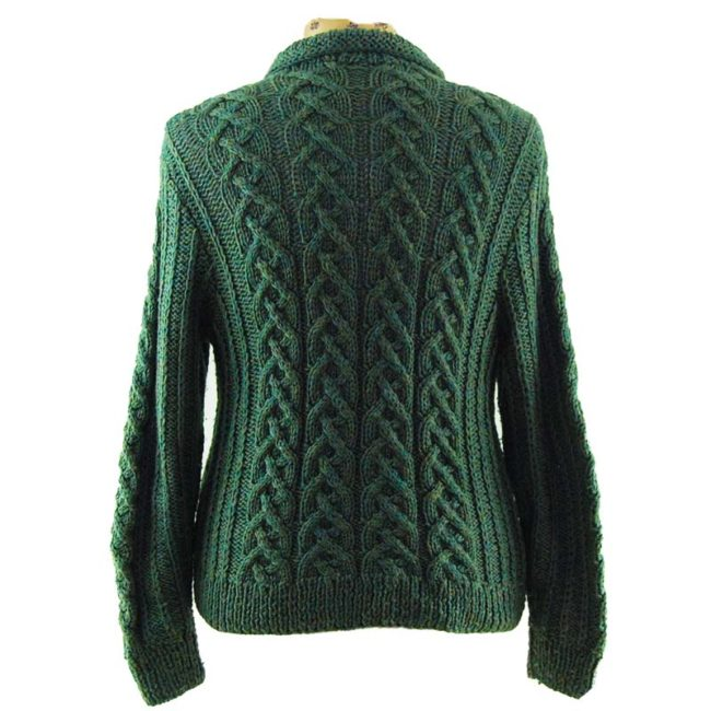 back of Green Vintage Zip Up Cardigan